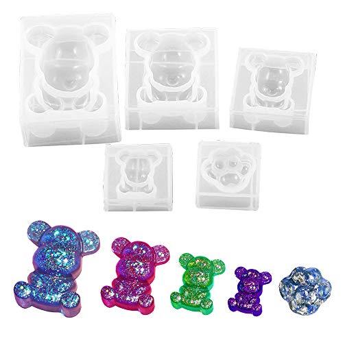 Daimay Stampo in resina epossidica 3D a forma di animale, in silicone, per sapone, candele, cubetti di ghiaccio, caramelle, pasta di zucchero, torte, cupcake – 4 orsi e 1 zampa di orso