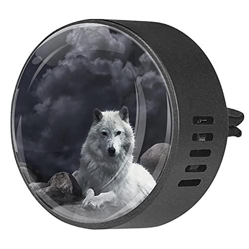 Difusor de coche para clips de ventilación de aceite esencial,Noche White Wolf Bird ,2 paquetes de ambientadores de aromaterapia de 40 mm