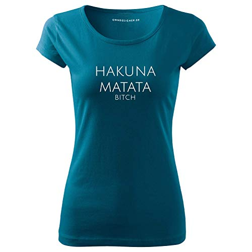 Hakuna Matata t-Shirt lang Damen Kurzarm Top Women lässig Sommer Petrolblau (95-Pure-Petrolblau-S)