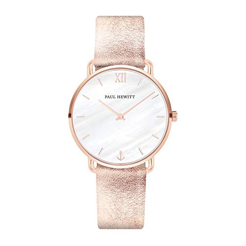 PAUL HEWITT Armbanduhr Damen Miss Ocean Pearl - Damen Uhr (Rosegold), Damenuhr mit Lederarmband (Liquid Rose), Ziffernblatt in Perlmutt