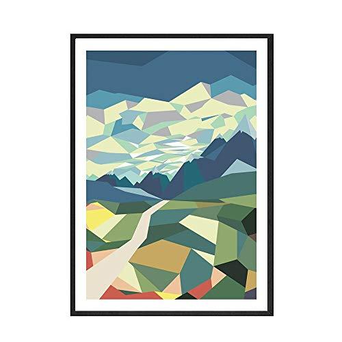 Hochgebirgswandkunst Abstrakte nordische Bergplakate und -drucke Hauptdekor rahmenlose Leinwandmalerei B 40x60cm