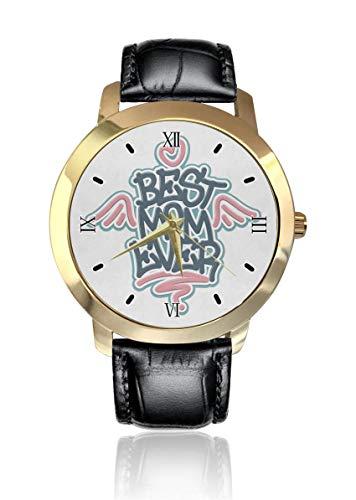 Mejor mamá jamás ángel alas personalizado moda clásico reloj de cuarzo analógico reloj de pulsera correa de cuero para hombres mujeres