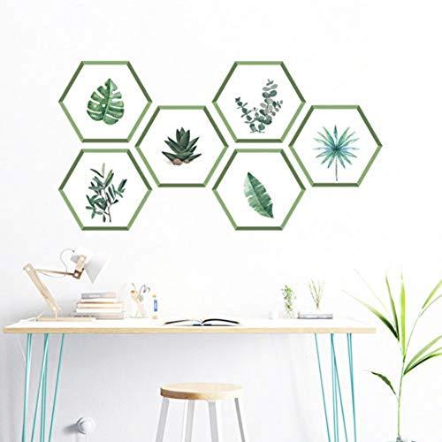 Muurstickers PVC groene planten blad 17 * 19 cm muursticker stuurdecoratie woonkamer slaapkamer hexagon fotolijst muurtattoos PVC muurschildering kunst accessoires