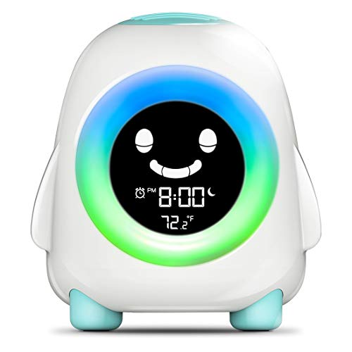 INONE Kids Alarm Clock Ready to Wake Up Trainer Colorful Night Light Nap Timer