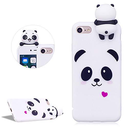 DasKAn Lindo Panda Mate Funda de Silicona para iPhone 7/8 4.7'', Patrón de Animales de Dibujos Animados 3D Soft Piel de Gel Goma Protectora de TPU a Prueba de Golpes,Blanco # 1