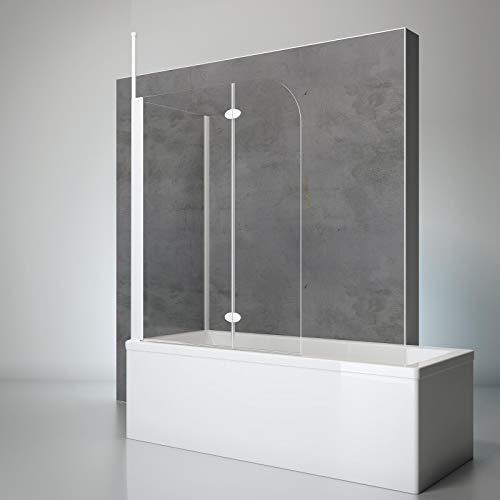 Schulte Duschwand mit Seitenwand, 116 x 140 x 70 cm, 2-teilig faltbar, 5 mm Sicherheits-Glas klar, Profilfarbe alpin-weiß, Duschabtrennung für Badewanne