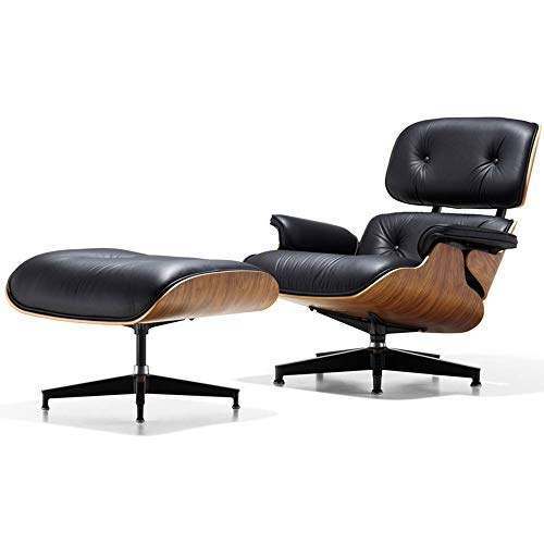 Wenzhihua Lounge Chair Recliner Armchair Lounge Chair With Ottoman PU Leather For Living Room,Bedroom,Club,Office Lounge Armchair Living Room Office Indoor (Color : Black, Size : Free size)
