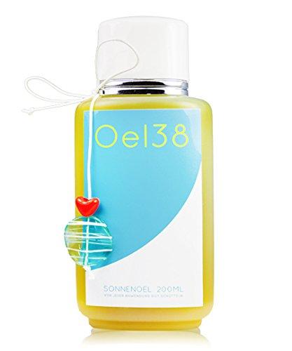 Oel38 Sonnenöl Olivenöl & Zitrone vegan, Oel 38 Handgemachte Naturkosmetik, Suntan Oil, Olivenoel, Öl38, Zitronenduft, bräunt sehr schnell.