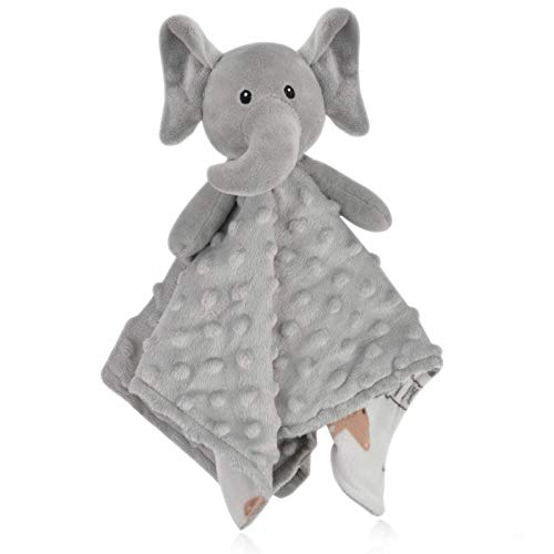 BORITAR Elephant Baby Security Blanket Soft Minky Dot Fabric Lovey Blanket with Lovely Animal Pattern Backing, Stuffed Plush Cuddle Newborn Blankie 14 Inch