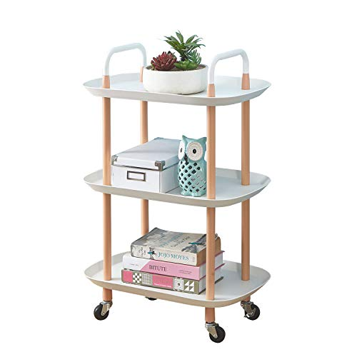 BEEY 3 Tier Utility Rolling Cart,Multi-Function Storage Organizer Rack Trolley Utility Serving Cart with Wheels for Bathroom,Kitchen,Bedroom,Oval White