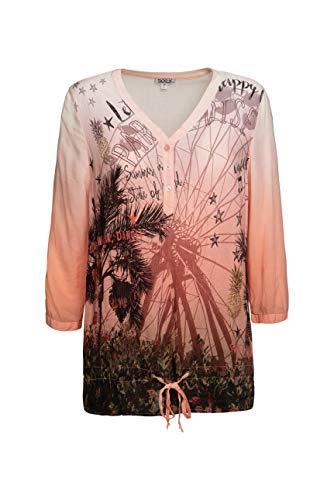 SOCCX Damen Fließende Bluse mit Photo Print
