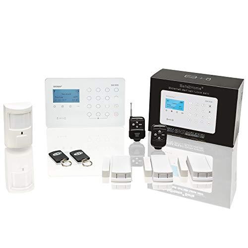 Safe2Home® Funk Alarmanlage Basis Set SP210 mit Sabotageschutz u Lichtsteuerung - deutsch - GSM WiFi Alarmsystem SMS Alarmierung - Alarmanlagen fürs Haus Büro inkl. Zubehör und Sensoren