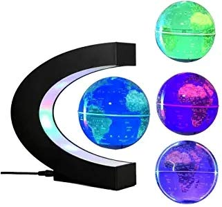 LYNICESHOP Magnetic Levitation Floating Globe C-Shape with LED Lights, Floating Globe World Map Decorative Globe for Children Educational Gift Home Office Desk Decoration