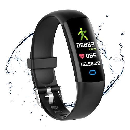 Relógio rastreador de atividades moreFit HR, relógio rastreador de atividades à prova d'água com monitor de pressão sanguínea, monitor de passos para exercícios, contador de calorias, relógio pedômetro para crianças, mulheres e homens