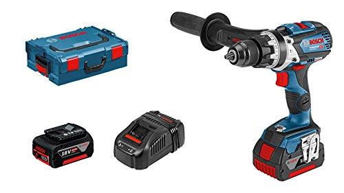 Bosch Professional - Taladro percutor inalámbrico con sistema de 18V GSB 18V-85 C (2 baterías de 5,0 Ah, cargador rápido, módulo de conectividad, L-BOXX)