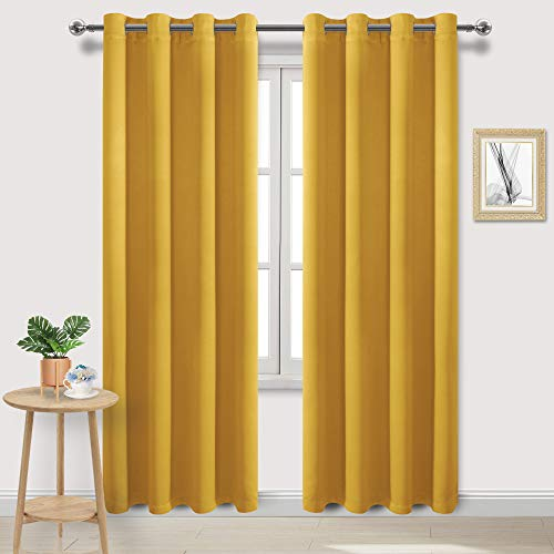 DWCN Blackout Curtains Room Darkening Thermal Insulated Bedroom Curtains Window Curtain Panels, 52 x 84 inches Long, Set of 2 Yellow Grommet Drapes