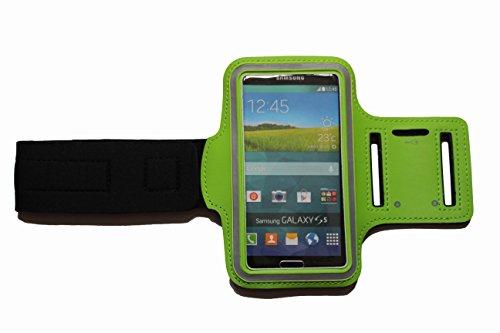 BlankM Grün Praktisches Sport-Armband, Fitness-Hülle Tasche zb Apple iphone 6, 6S, Samsung Galaxy S4, S5, S6, S6 Edge, S7, A5, Lumia 630, 640 - bis 14,8 x 9 cm für Kopfhörer, mit Klett und Schlüsselfach - Dealbude24