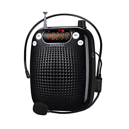 Amplificador de voz, SHIDU Amplificador de voz Sistema de PA portátil recargable de 10 vatios Altavoz con micrófono con cable Soporte para auriculares Juego de MP3 para maestros, yoga