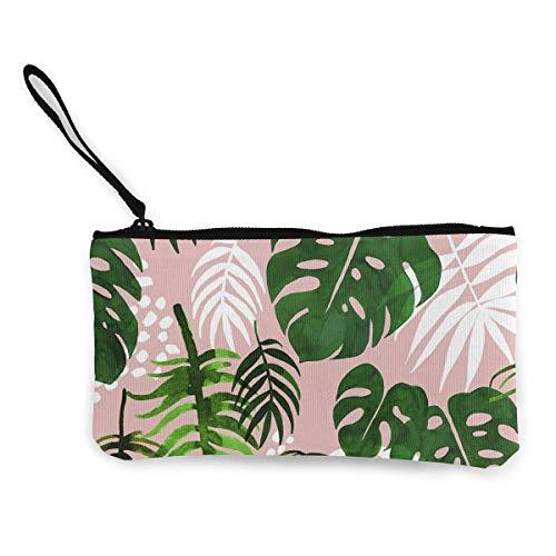 Yuanmeiju Monedero de lona de palmera tropical, ligero, monedero, monedero, monedero, monedero con cremallera