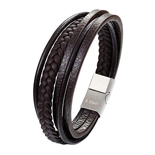 Pulsera Brazalete, Joyeria Regalo, Multilayer Real Leather Bracelet Men Stainless Steel Magnet Buckle Men Gift Friendship Bracelet Pulseras 19 Choice as picture15 22cm