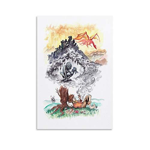 Póster de viaje The Hobbit Art – El Señor de los Anillos – Póster retro vintage impresiones de decoración Gifs póster decorativo de pared lienzo para sala de estar o dormitorio 20 x 30 cm