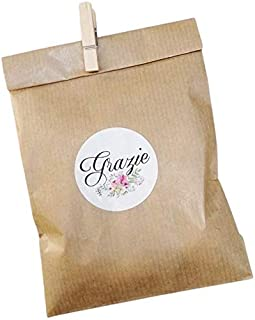 20 kit Confettata, sacchetti carta kraft, 10x16 centimetri, mollette, adesivi grazie, avana, bustine carta, sacchetti cart...