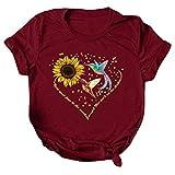 Iusun Women Short Sleeve Tops T-Shirt Blouse Summer Casual Round Neck Plus Size Bird Sunflower Printed Loose Tunic