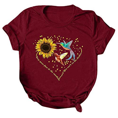 Shirts t Shirt Oversize Shirt Sport Shirt t Shirts Tee Shirt t Shirt Damen T-Shirt Bluse Tops Frauen Casual Letter Printing Kurzarm O-Neck Loose (3XL,3wein)
