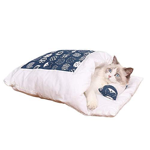 WOIA 1pc Gato Perros Cama para Mascotas Casa Cachorros Gatos Saco de Dormir Alfombrilla Sofás extraíbles, Azul Oscuro, L