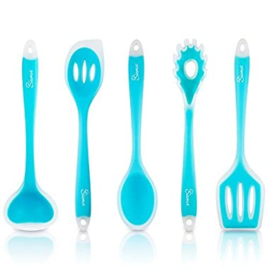 Kitchen Utensil Set - Silicone Utensils - Nonstick Cooking Spatulas - Best Serving Tools - For Pots and Pans - Ladle Spatula Turner Spoon Pasta Server Kit - Ocean/Turquoise/Blue Color