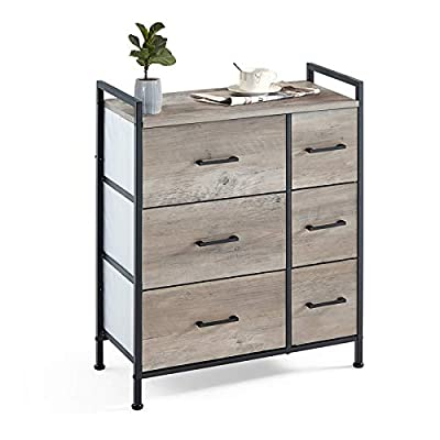 Linsy Home Drawer Dresser,Industrial Wide Storage Tower with Fabric Drawer,Wood Top and Front, Metal Frame for Living Room, Bedroom, Hallway, Nursery (6 Drawer)