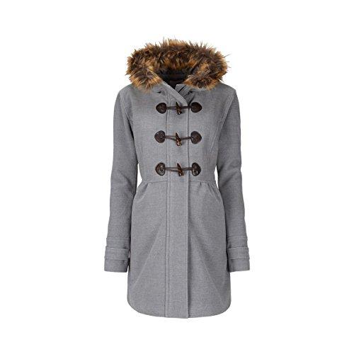 2HEARTS Umstands-Mantel Romantic Duffle Coat mit Fake Fur - schicker Mantel für die Schwangerschaft - grau