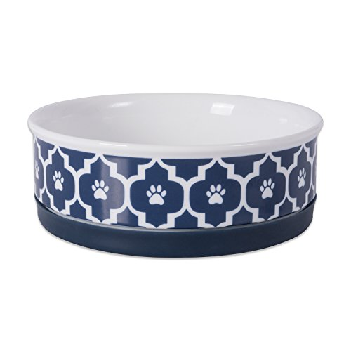 Save %18 Now! Bone Dry Lattice Collection Pet Bowl & Canister, Medium Round - 6 x 6 x 2, Nautical B...