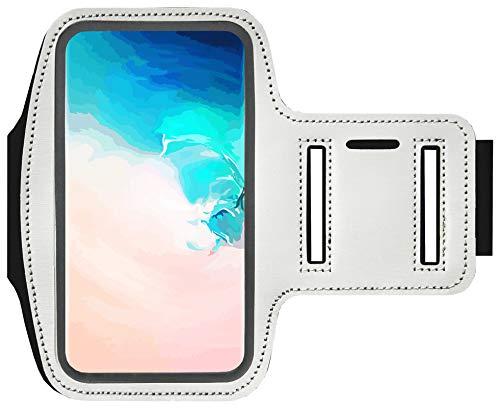 Adel Brazalete para el Móvil Smartphone 5.5 Inch Microfibra Estuche Funda para Celulares Compatible con Huawei P8 (Lite) - Blanco