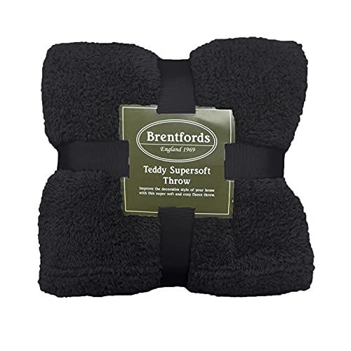 Brentfords Teddy-Fleecedecke, groß, Überwurf über Bett, Plüsch, superweich, warm, Sofa-Tagesdecke, schwarz BBTEPLDBK11 Single 125 x 150 cm