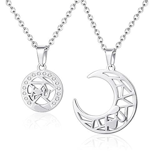 Collar De Pareja Sun Moon Para Hombres Y Mujeres, Par De Colgantes De Acero De Titanio, Plata