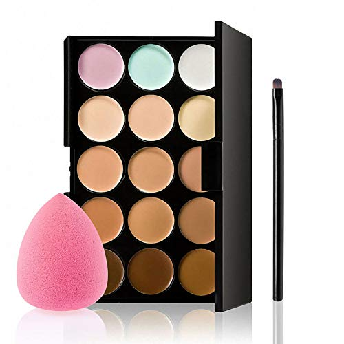 Concealer Palette, Anself 15 Colors Makeup Cream Facial Camouflage Contour Palette with Sponge Puff Oval & Makeup Brush Beauty Make up Cream
