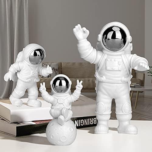 PANTSLIEN Adornos de Astronauta, Astronauta Figura, Astronauta Decoracion, Astronauta Resina, Decoración para Tartas, Adornos para Tartas, Regalo Decoracion Casa, Plata 3pcs Set