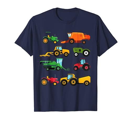 8 tractores y máquinas agrícolas, cortacéspedes, regalo para niños Camiseta