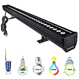 YRXC 108W RGBW LED Wall Washer, Non-dimmable Color Changing LED Light Bar with 12 Key RF Remote, 3.2ft/40'' 120V IP65 Indoor/ Outdoor Bar Garden, Parties, Wedding, Sign, Casinos, Billboards(Black)