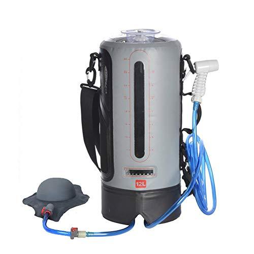 Bolsa de ducha portátil para camping y exteriores, con 12 L, con luz solar, para ducha de agua caliente con temperatura de 45 °C, manguera extraíble de encendido/apagado y ducha de senderismo