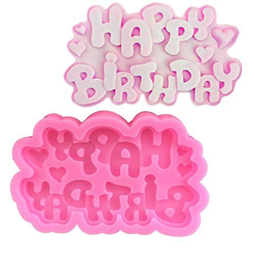 NRRN DIY 3D Cake Decorating Mold,Happy Birthday Print Fondant Mould Baking Sugar Craft Decorating Mold Tool Baking