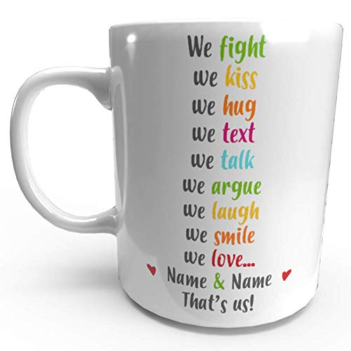 Personalised Valentines Day Gift Mug We Love We Fight Vday for Him Her Add...