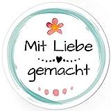 48 runde Design Etiketten - Mit Liebe gemacht - Aufkleber passend für Marmeladengläser,...