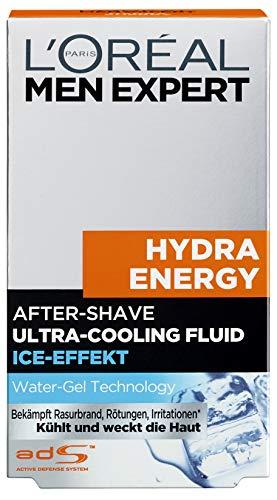 L'Oréal Men Expert Hydra Energy After-Shave Ultra-Cooling Fluid, kühlt frisch rasierte Männerhaut Beugt Rötungen, Hautirritationen und Pickeln vor (100 ml)