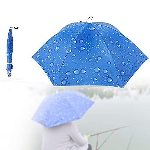 Sombrero Paraguas De Cabeza, Sombrero De Sombrilla De Pesca Al Aire Libre, Protección Solar Y Lluvia, Accesorios, Pesca, Camping, Jardinería, Golf, Etc. Al Aire Libre, Camping,Azul,S