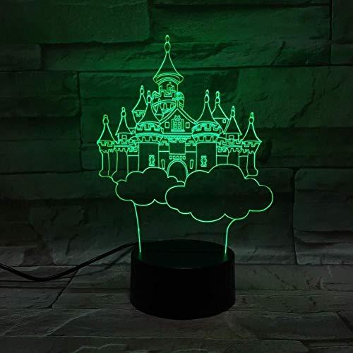 3D Illusion lampe LED cadeaux étonnants Onirique Château Bureau USB Chambre Décor Veilleuse bébé fille cadeaux Présenter, capteur tactile 7 couleurs lumière de nuit