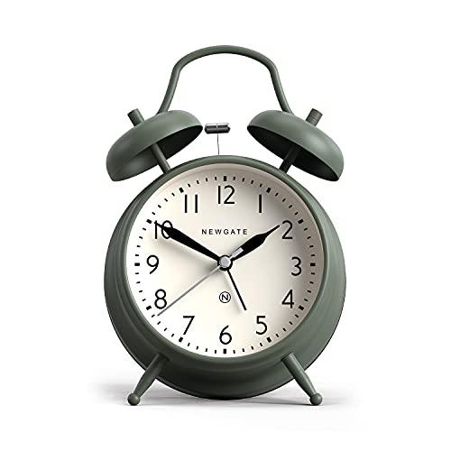 NEWGATE Reloj despertador clásico con doble campana, diseño de Covent Garden con esfera contemporánea, martillo y alarma de acción de campana (verde)