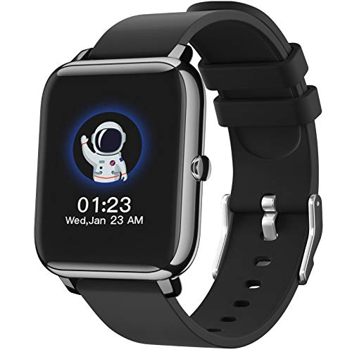 SmartWatch, Reloj Inteligente con Pantalla táctil IP68,Monitor de Sueño,Control de Musica,Pulsera Actividad Inteligente,Reloj Inteligente para Android e iOS(Negro)