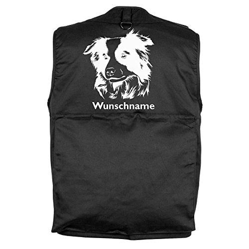 Tierisch-tolle Geschenke Border Collie - Hundesportweste mit Rückentasche und Namen (M)